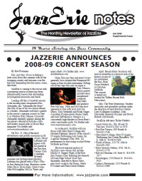 JazzErie Notes Fall Supplement 2009