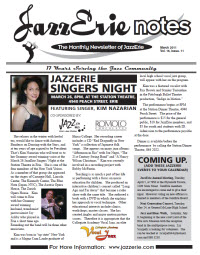 JazzErie Notes March 2011