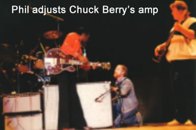 Phil adjusts Chuck Berry's amp