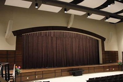Theater installed with custom speaker enclosures