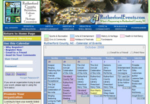 Rutherford County, NC uses MutualGravity's WebCalendar Angel to manage its customized regional events calendar at RutherfordEvents.com