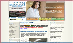 Lake Erie College of Osteopathic Medicine Website Use of WebAngel Suite